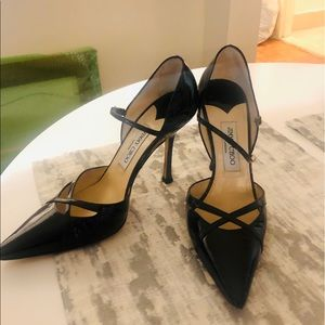 Jimmy Choo patent leather pointed toe pumps